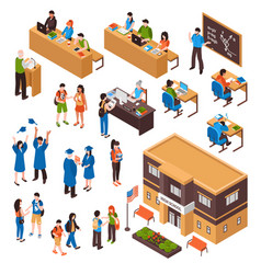Students and teachers isometric set vector