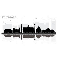 stuttgart germany city skyline black and white vector image