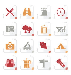 Stylized camping tourism and travel icons vector