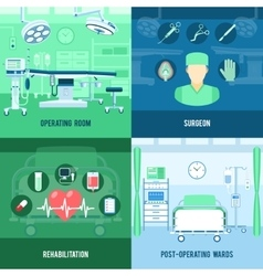 Surgery 4 flat square icons banner vector image