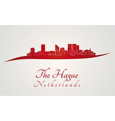 The hague skyline in red vector