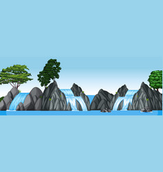 three small waterfalls and big lake vector image