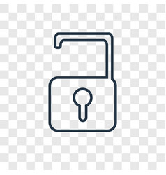 Unlock concept linear icon isolated on vector