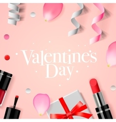 Valentines Day background with gift box cosmetics vector image