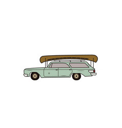 vintage hand drawn camp car retro transportation vector image
