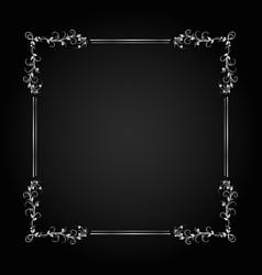 vintage silver frame decorative frame vector image