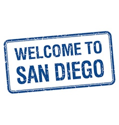 welcome to San Diego blue grunge square stamp vector image