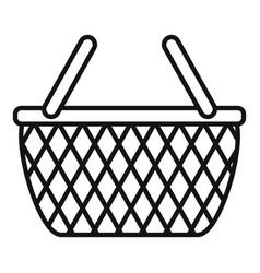 Wicker hamper icon outline style vector