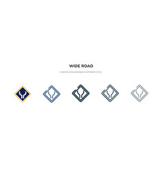 Wide road icon in different style two colored vector