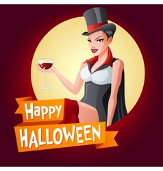 Woman in vampire costume card with text vector