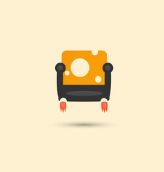 Yellow trendy sofa with white circles background vector