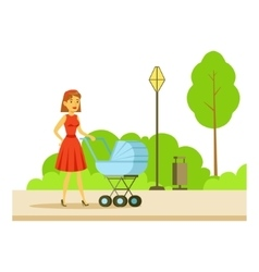 Young Mother Walking WIth The Baby In The Stroller vector image
