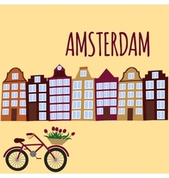 Amsterdam city flat art Travel landmark vector image vector image