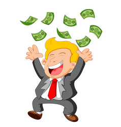 businessman happy under falling raining money show vector image