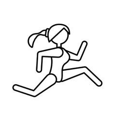 Girl athlete running sport outlined vector