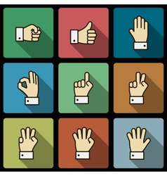 Hand gestures ui design elements squared shadows vector
