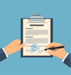 man signs agreement vector image vector image