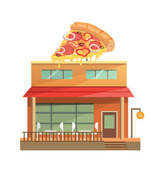 pizza restaurant building isolated urban building vector image