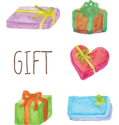 Set of colorful gift boxes with bows and ribbons vector image vector image