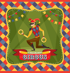 circus card with the harlequin vector image