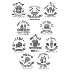 fast food icons set for restaurant menu vector image vector image