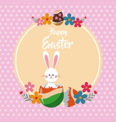 happy easter bunny broken egg floral dots vector image