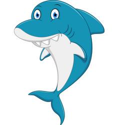 happy shark cartoon vector image vector image