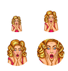 pop art avatar of surprised girl with vector image vector image