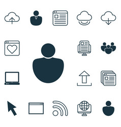 Set of 16 web icons includes program website vector