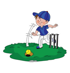 boy playing cricket vector image vector image