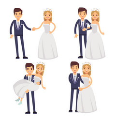 Cartoon wedding couple just married vector