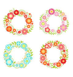 floral frames in circle shapes with place for your vector image