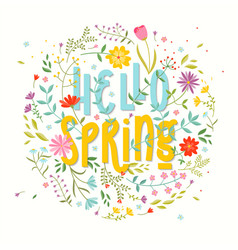 hello spring floral background vector image