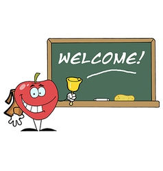 Red School Apple Ringing A Bell vector image