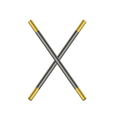 two crossed magic wands in black and golden design vector image