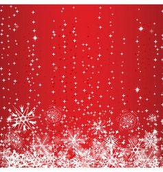 winter red background with snowflakes vector image