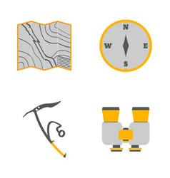 map compass ice ax binoculars flat icons vector image