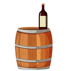 Wooden berrel and red wine vector image vector image