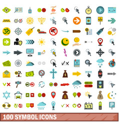 100 symbol icons set flat style vector
