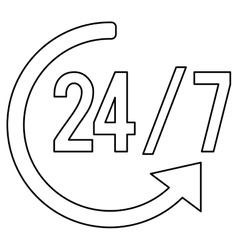 24 hours 7 days a week icon vector