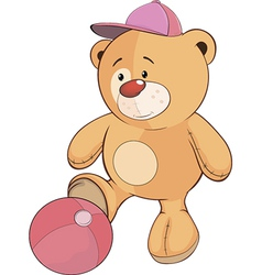 A stuffed toy bear cub a soccer player cartoon vector image