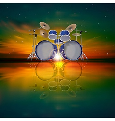 Abstract music background with drum kit and dark vector
