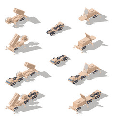 Air defense missile system isometric icon set vector