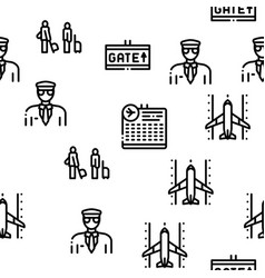 Airline and airport seamless pattern vector