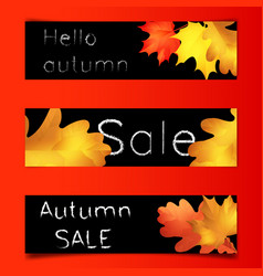 Autumn sale banners black board with chalk vector
