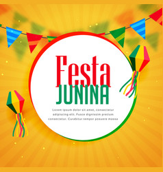 Awesome festa junina greeting design with garlands vector