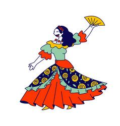 Beautiful gypsy girl in long dress dancing vector