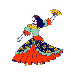Beautiful gypsy girl in long dress dancing with vector