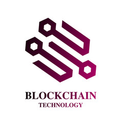 Blockchain cryptocurrency logo modern computer vector
