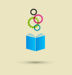 Blue book four colored gears white vector